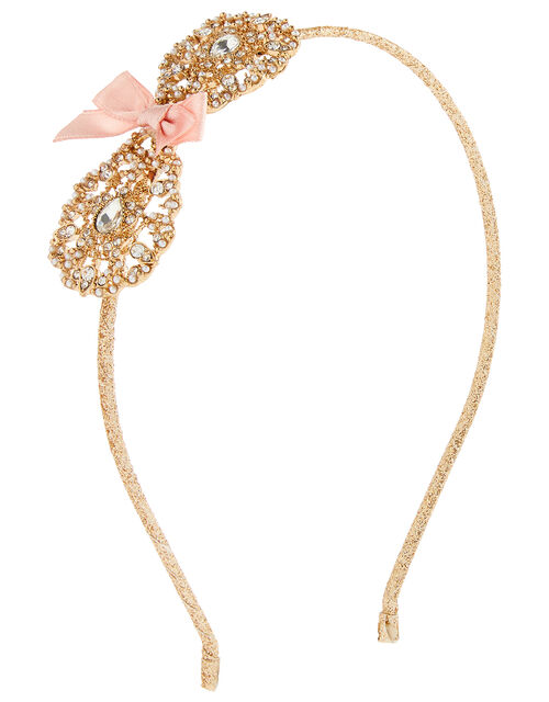 Filigree Pearl and Crystal Bow Headband, , large