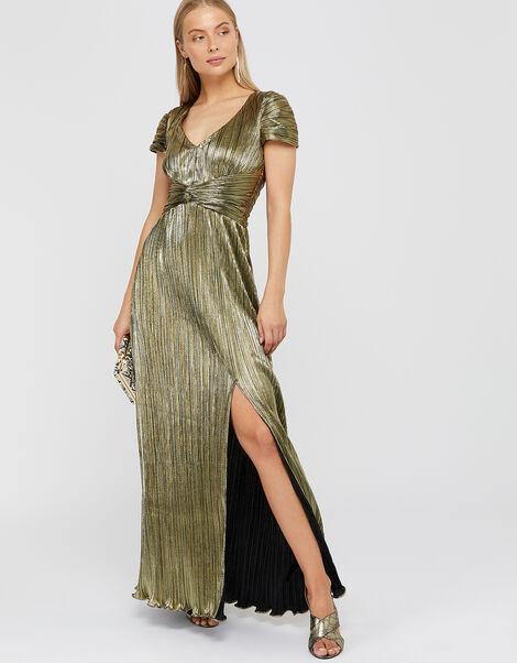 Loreen Lame Maxi Dress Gold, Gold (GOLD), large