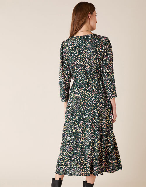 Floral Animal Midi Dress in Sustainable Viscose, Green (GREEN), large