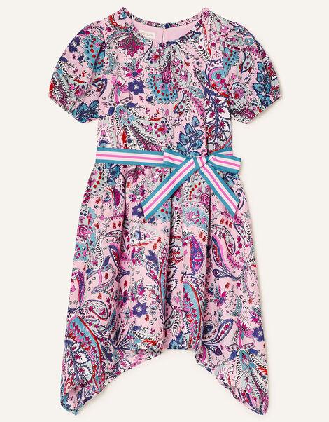 Paisley Print Hanky Hem Dress Pink, Pink (PALE PINK), large