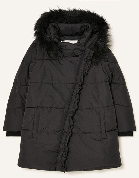 Asymmetric Ruffle Coat Black, Black (BLACK), large