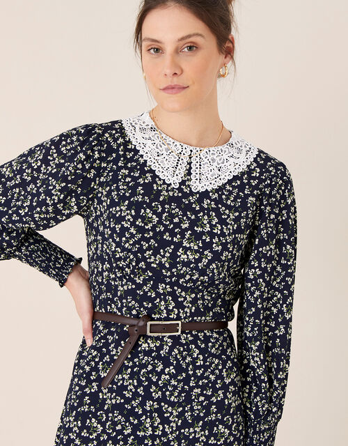 Lace Collar Floral Dress, Blue (NAVY), large