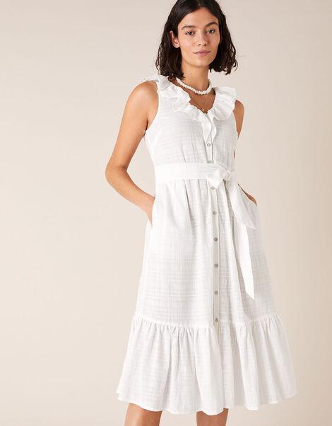 Ruffle Neck Dress in Organic Cotton White, White (WHITE), large