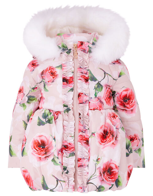 Baby Rose Print Padded Coat, Pink (PALE PINK), large