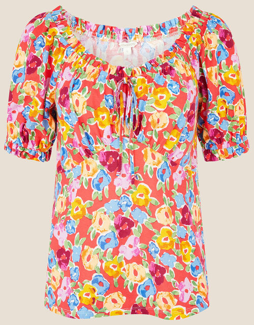 Floral Sweetheart Neck Jersey Top, Red (RED), large