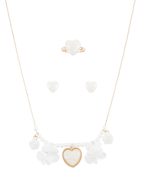 Pearly Heart and Rose Jewellery Set , , large