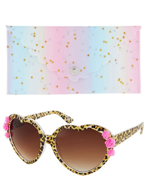 Leopard Heart Sunglasses with Case, , large