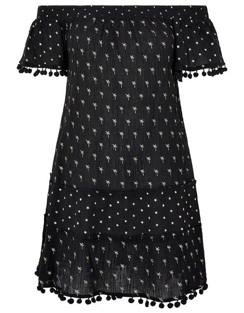 Foil Print Dress in Organic Cotton, Black (BLACK), large