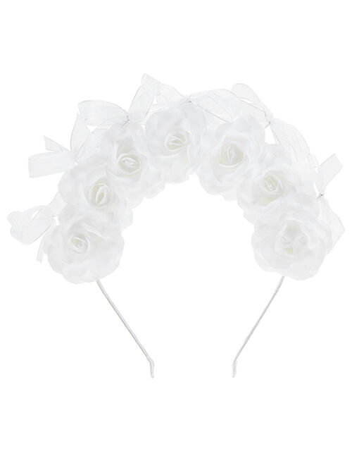 Flower and Bow Statement Headband, , large