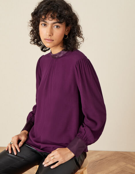 High Neck Pleated Long Sleeve Blouse Red, Red (BURGUNDY), large