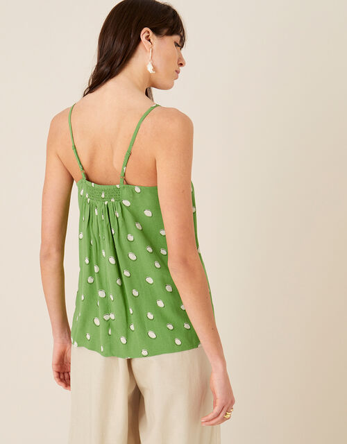 Spot Print Cami in Sustainable Viscose, Green (GREEN), large