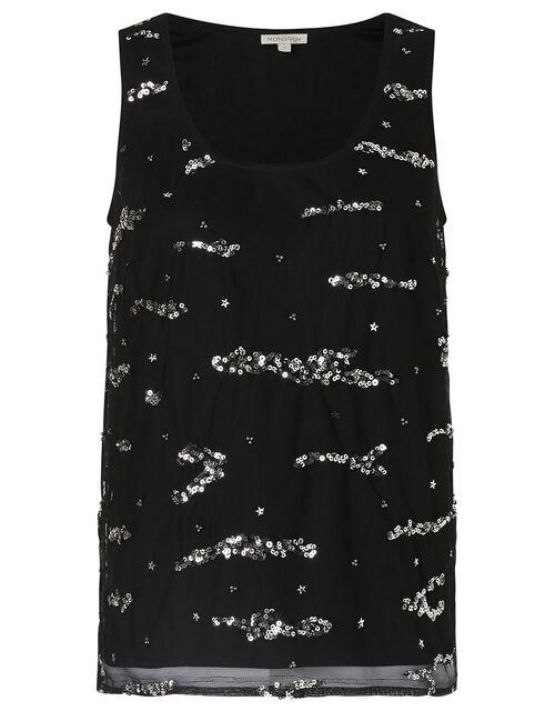 Tara Embellished Stretch Sleeveless Top, Black (BLACK), large
