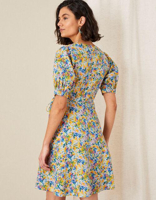 Louis Floral Poplin Dress in Organic Cotton, Blue (BLUE), large