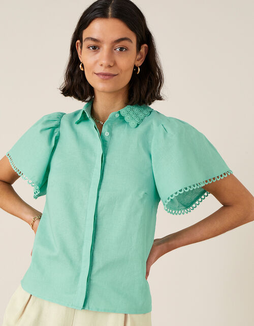 Lace Collar Shirt in Linen Blend, Green (GREEN), large