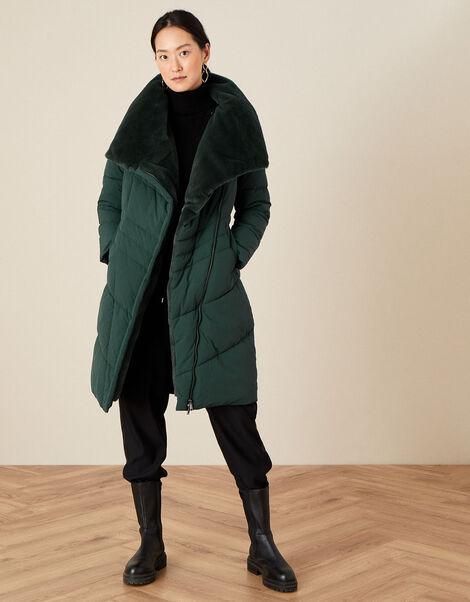 Faux Fur Collar Padded Coat Green, Green (GREEN), large