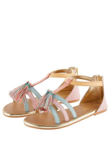 Rainbow Tassel Sandals Multi, Multi (MULTI), large