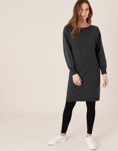 Metallic Gem Sleeve Dolman Dress Grey, Grey (CHARCOAL), large