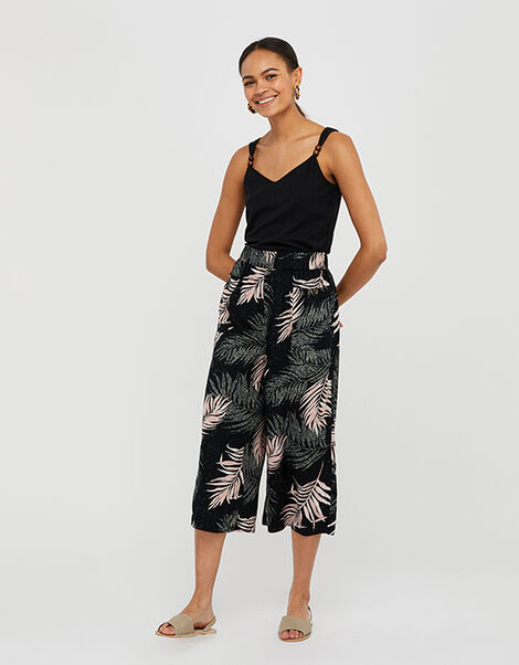 Palm Print Culottes in Recycled Fabric Black, Black (BLACK), large