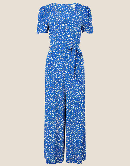 Ditsy Floral Wrap Jumpsuit, Blue (BLUE), large