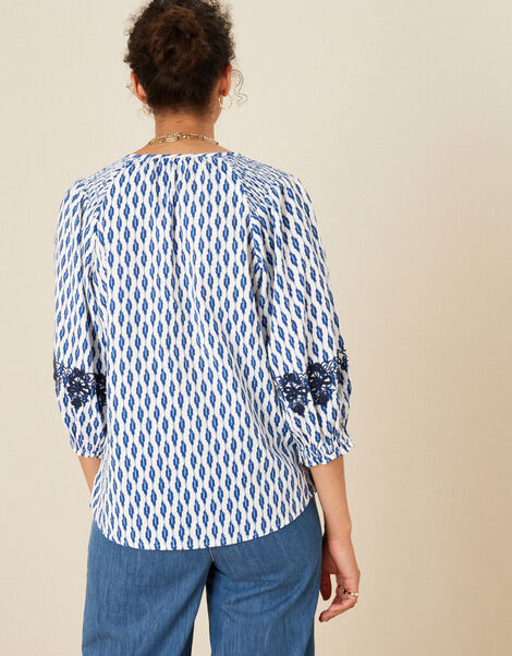 Ikat Embroidered Top in Organic Cotton Ivory, Ivory (IVORY), large
