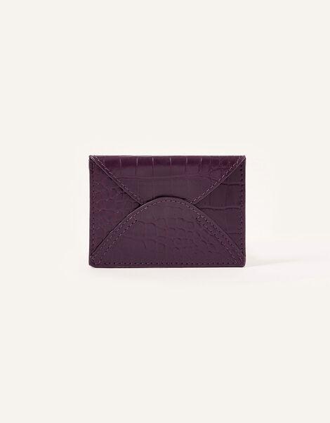 Croc Effect Leather Cardholder, , large
