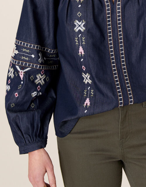 Boho Embroidered Blouse in Pure Cotton, Blue (DENIM BLUE), large