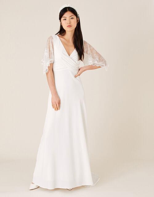 Linda Lace Angel Sleeve Bridal Dress, Ivory (IVORY), large