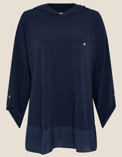 LOUNGE Nieve Jersey Hoody, Blue (NAVY), large