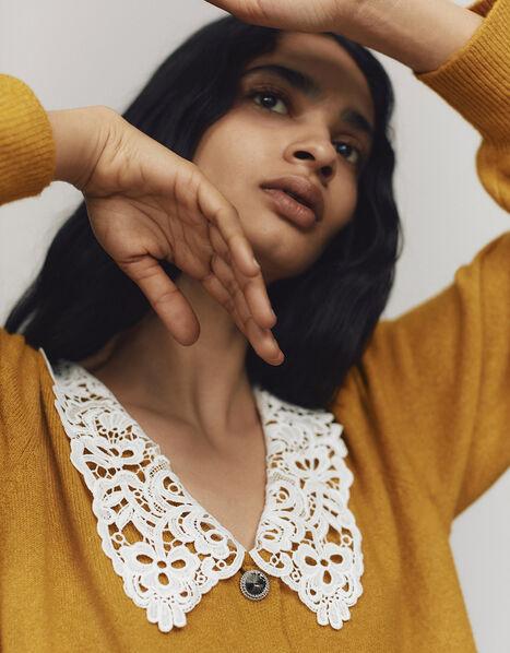 Leila Lace Collar Cardigan Yellow, Yellow (OCHRE), large