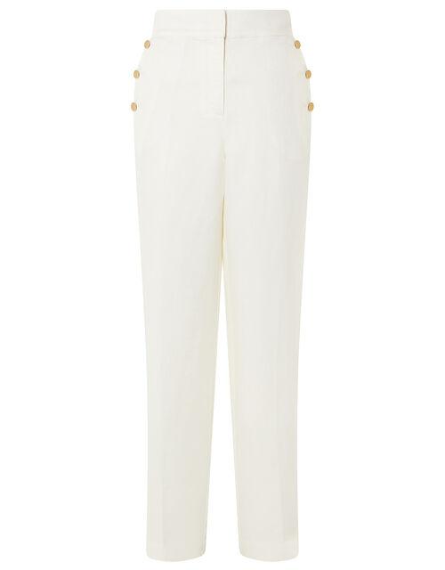 Smart Longer Length Trousers in Linen Blend, White (WHITE), large