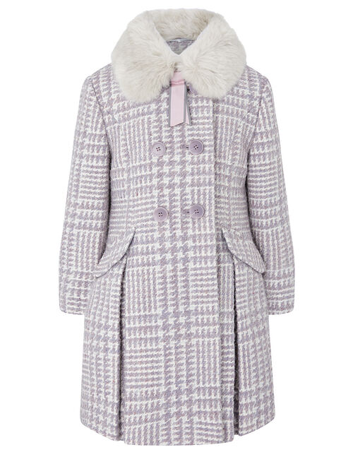 Dogtooth Tweed Coat, Purple (LILAC), large