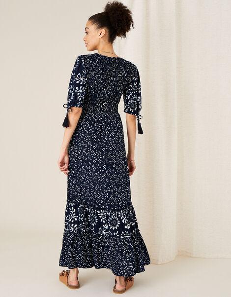 ARTISAN STUDIO Mix Print Tiered Dress Blue, Blue (NAVY), large
