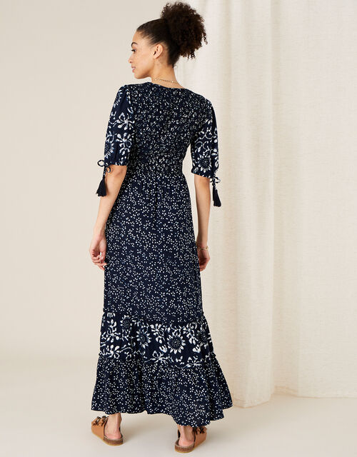 Contrast Print Tiered Dress, Blue (NAVY), large