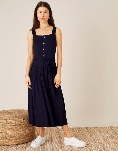 Button Sundress with LENZING™ ECOVERO™, Blue (NAVY), large