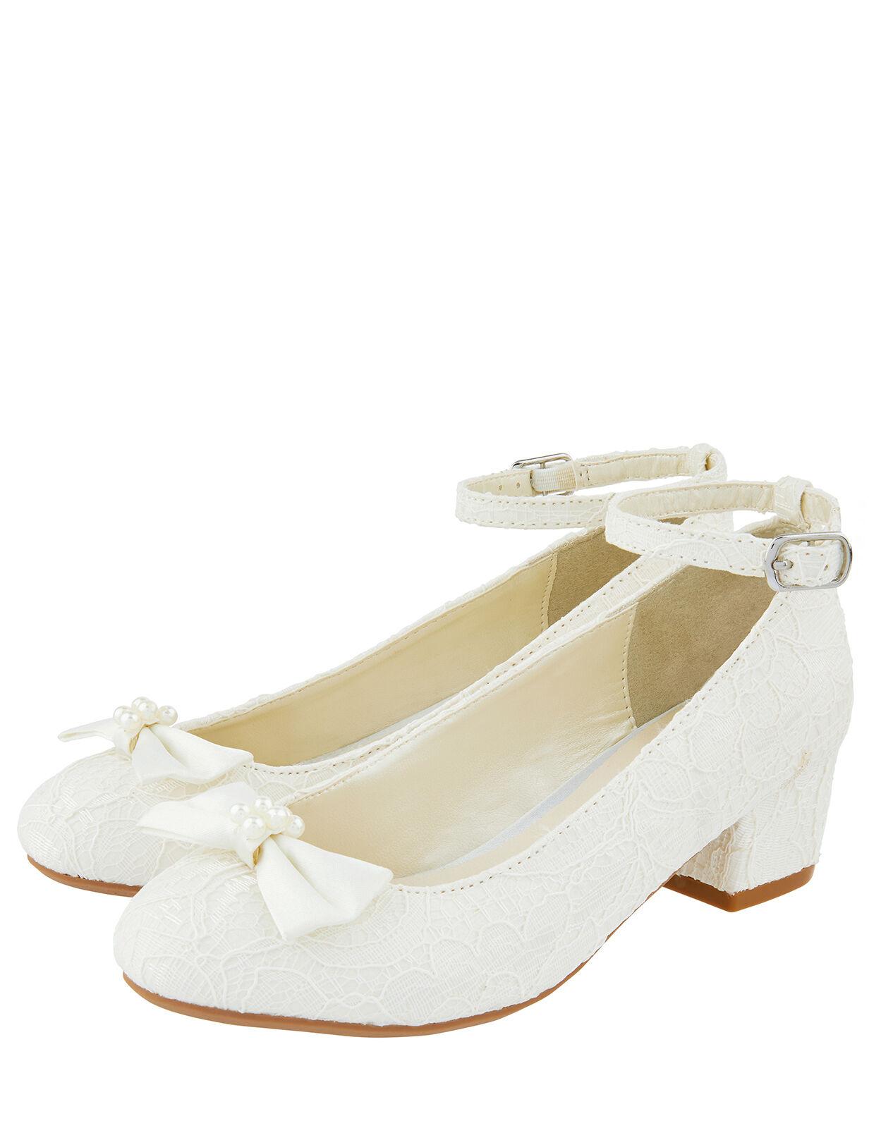 Lara Shimmer Lace Shoes Ivory   Girls