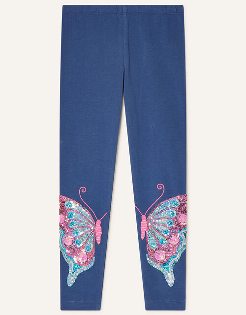 Sequin Butterfly Leggings, Blue (BLUE), large