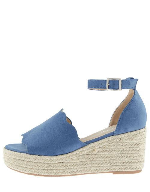 Savannah Scallop Wedge Heel Sandals, Blue (BLUE), large