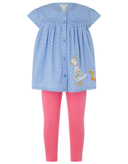 Baby Nellie Duck Top and Legging Set, Blue (BLUE), large