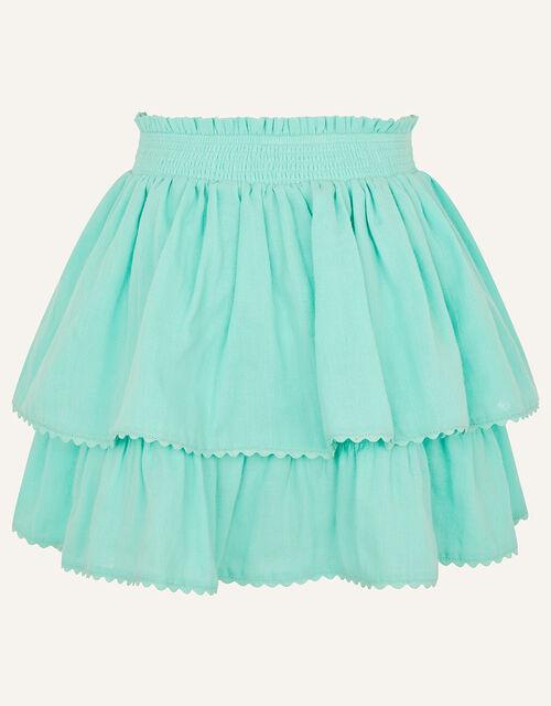 Frill Top and Skirt Set , Blue (AQUA), large