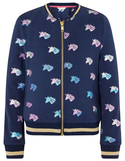 Rainbow Unicorn Bomber Jacket in Organic Cotton, Blue (NAVY), large
