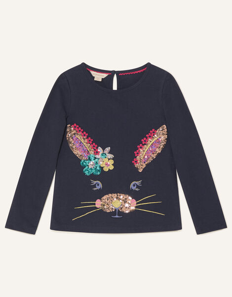 Bunny Long Sleeve Top Blue, Blue (NAVY), large