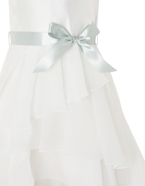 Tiered Organza Dress with Changeable Ribbons, Ivory (IVORY), large