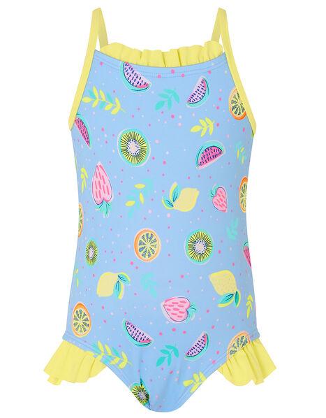 Baby Fruit Print Frill Swimsuit Blue, Blue (BLUE), large