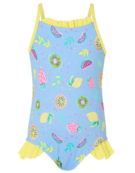 Baby Fruit Print Frill Swimsuit Blue, Blue (BLUE), large
