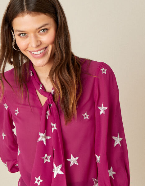 Liza Star Pussybow Blouse Pink, Pink (PINK), large