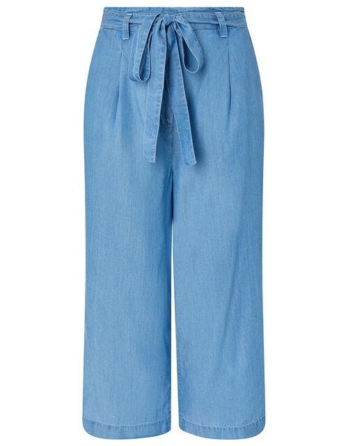 Tally Cropped Trousers in LENZING™ TENCEL™, Blue (DENIM BLUE), large