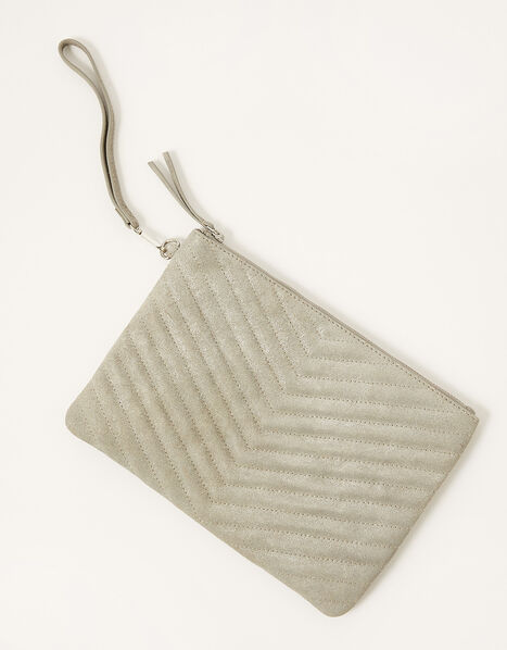 Quilted Suede Clutch Bag, , large