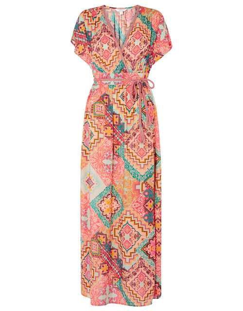 Printed Maxi Dress, Orange (ORANGE), large