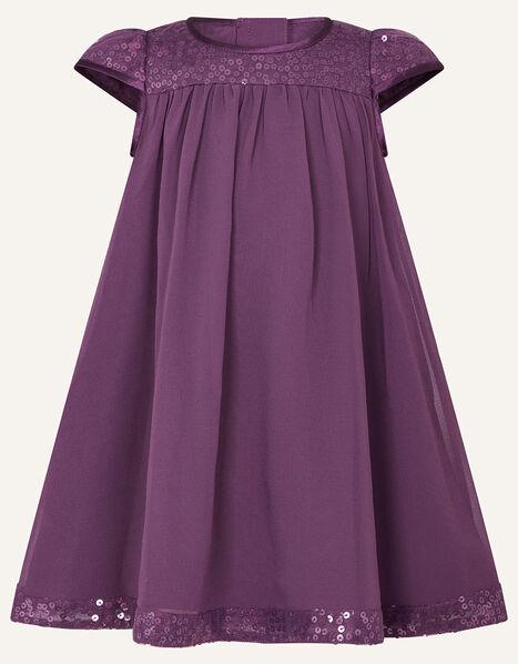 Baby Sequin Sleeve Dress  Purple, Purple (PURPLE), large