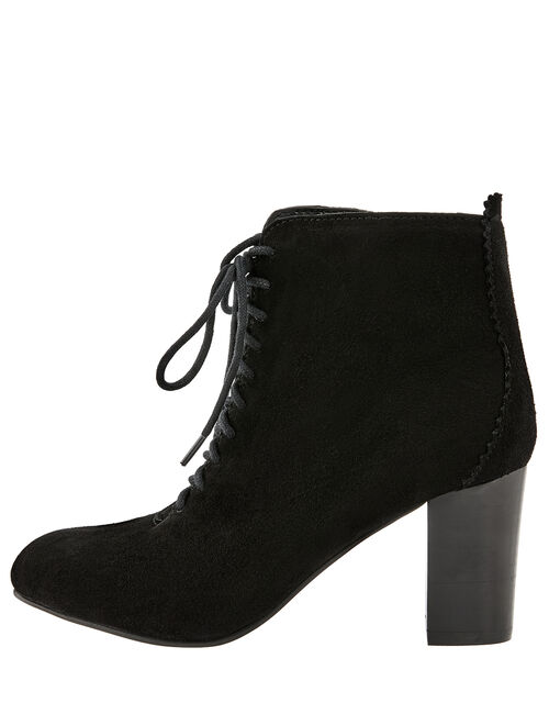Lia Suede Lace-Up Ankle Boots, Black, large